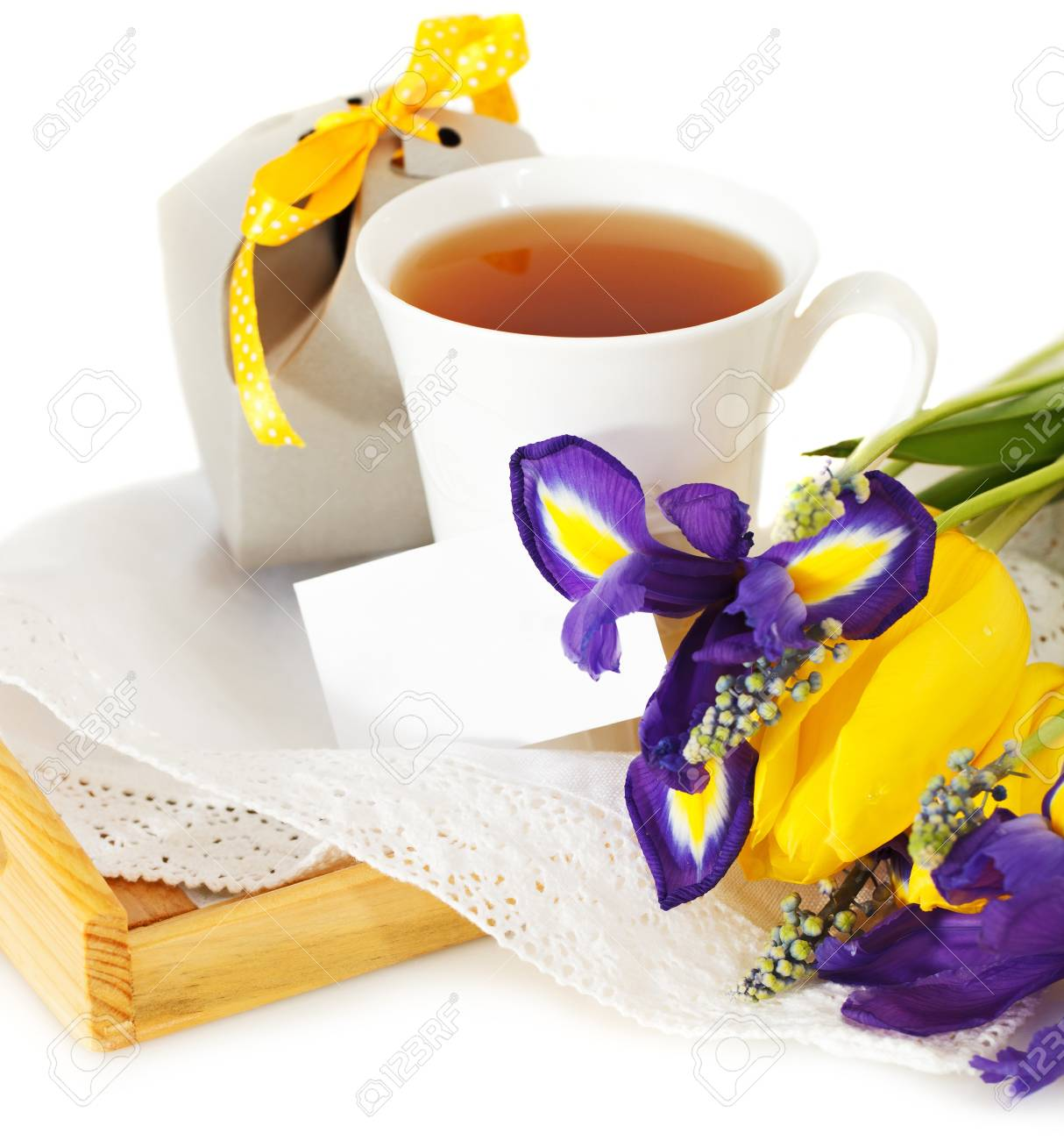 Tea with flowers and gift box for mom in Mother's Day Stock Photo - 18363483