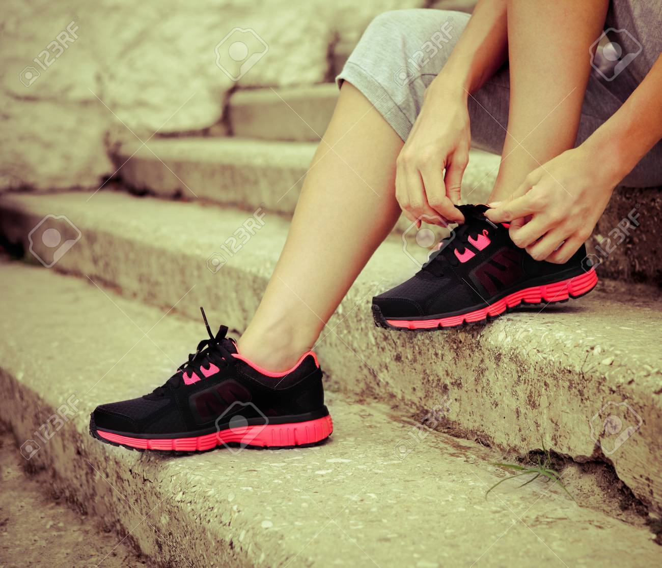 Athlete Girl Trying Running Shoes
