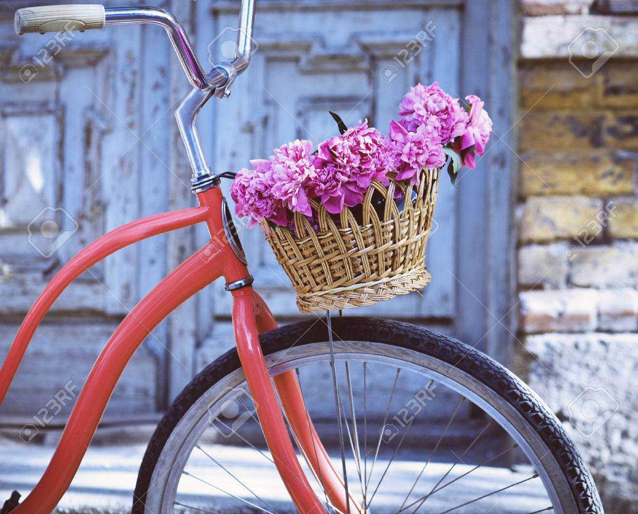 Vintage bicycle with basket with peony flowers near the old wooden door - 38833519