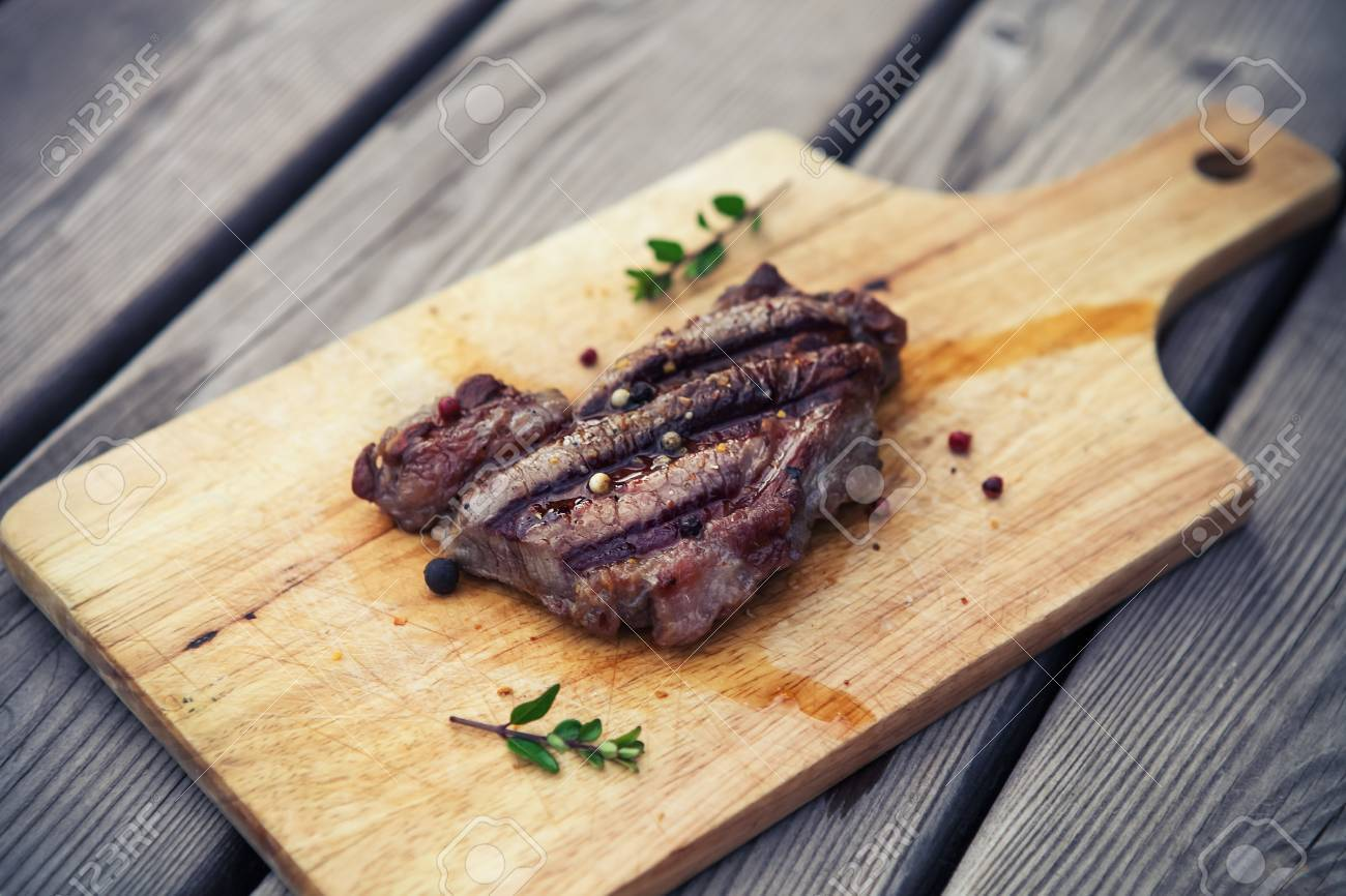 BBQ Steak Barbecue Grilled Beef Meat Healthy Food Barbeque Dinner Stock