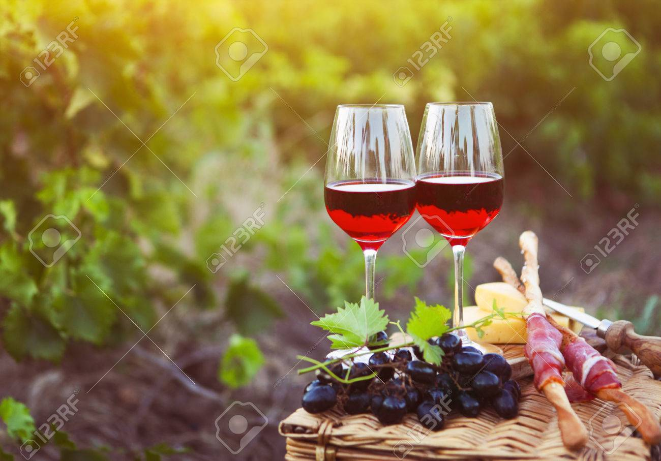 Two glasses of rose wine with bread, meat, grape and cheese on the vineyard background - 51168610