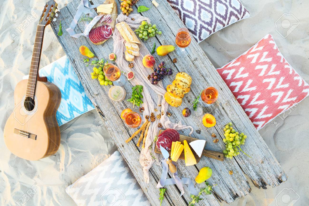 Top view beach picnic table outdoors. Beach party - 76266339
