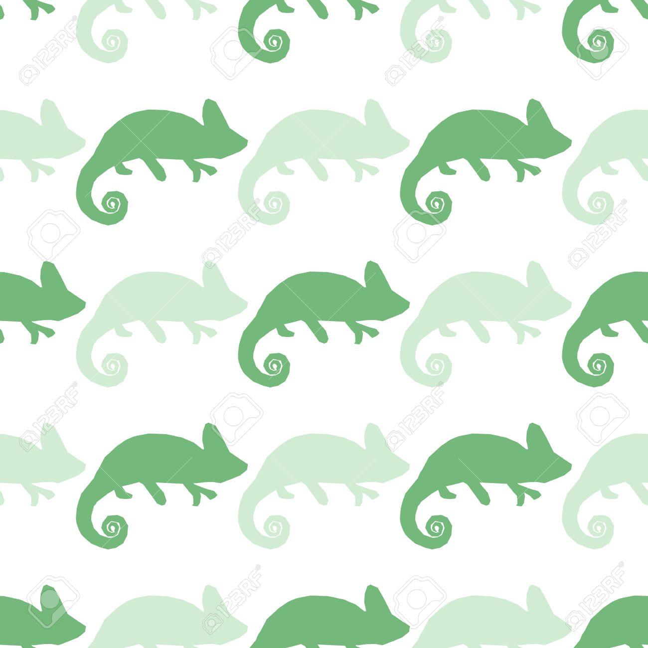 白で隔離カメレオンとシームレスな壁紙 緑と青のマスカレード トカゲ