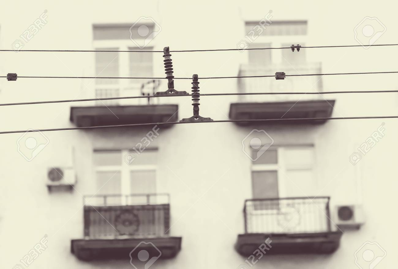 Wire Trolley On Background Of Balconies Of Houses In Sepia Stock ...