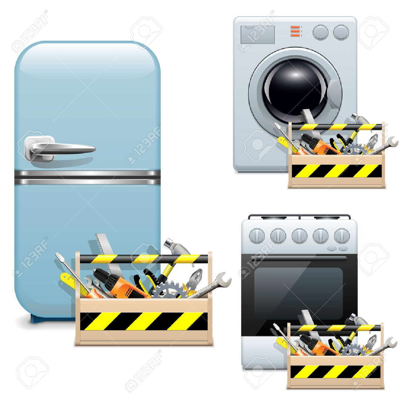 General Appliance Repair Vector Household Appliance Repair Icons Royalty Free Cliparts