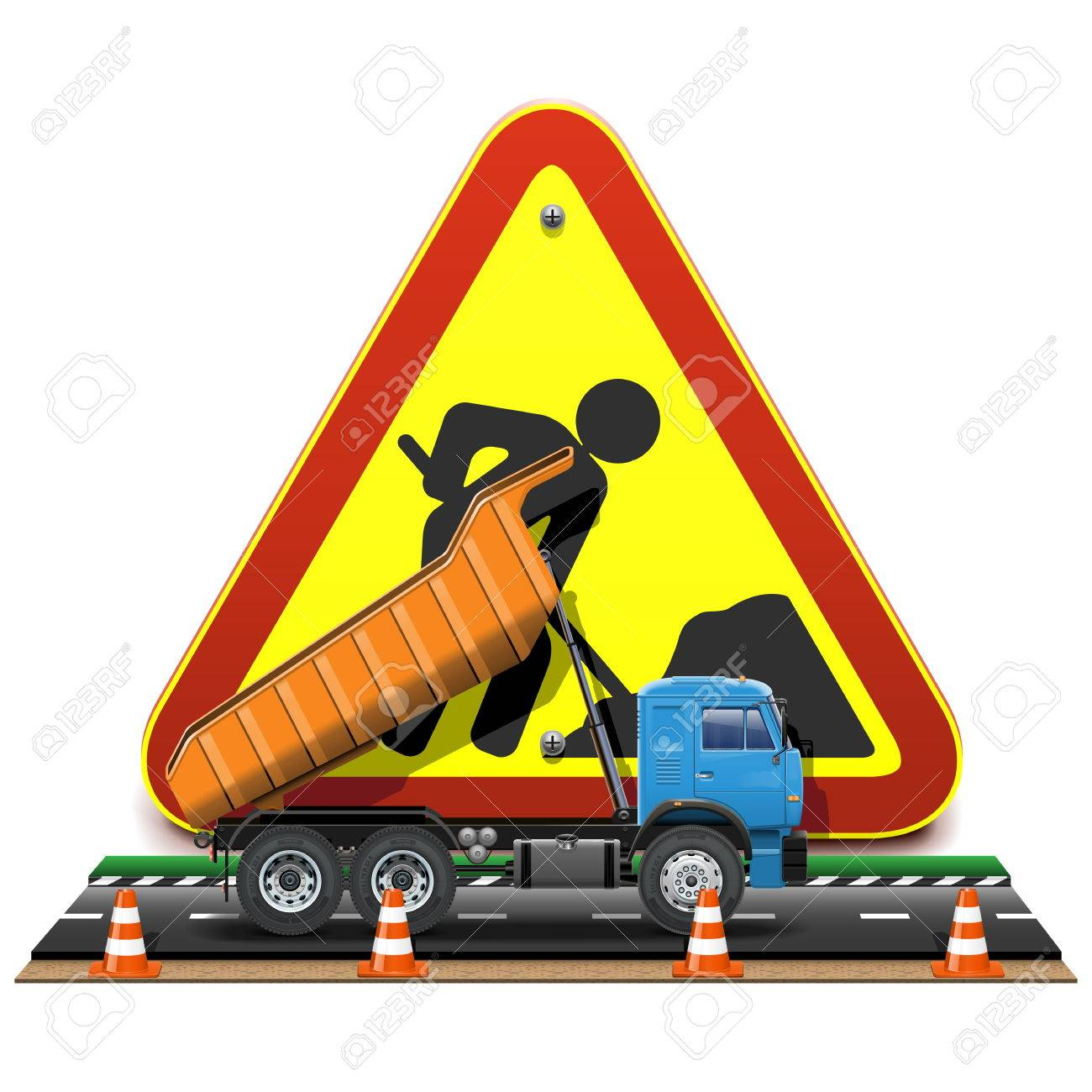 Vector Road Construction Concept with Truck Stock Vector - 27144659