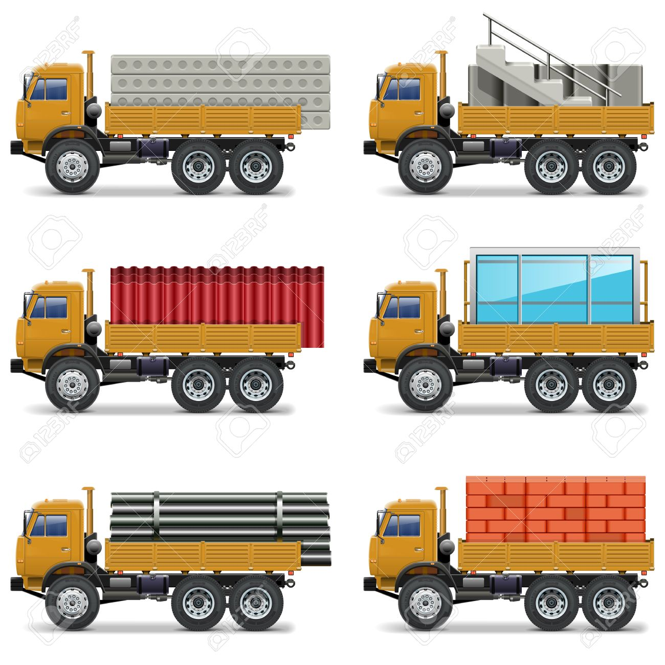 vector construction trucks royalty free cliparts vectors and