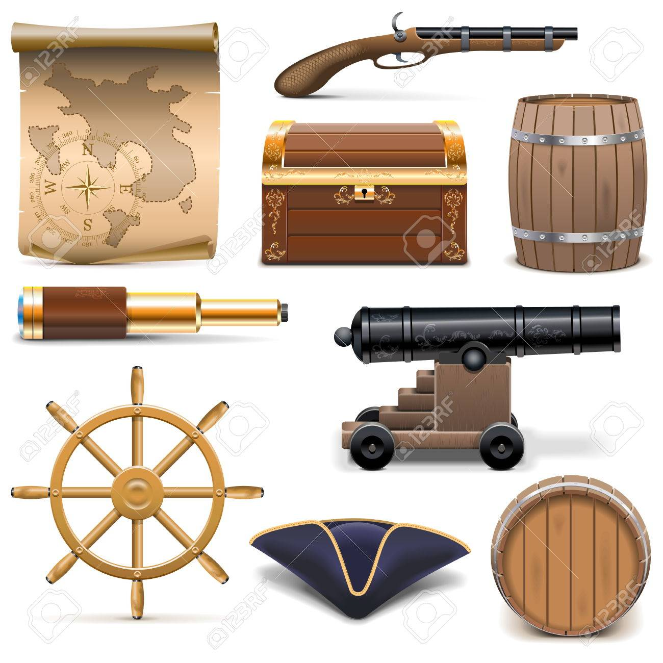 Vector Pirate Icons isolated on white background - 35807858