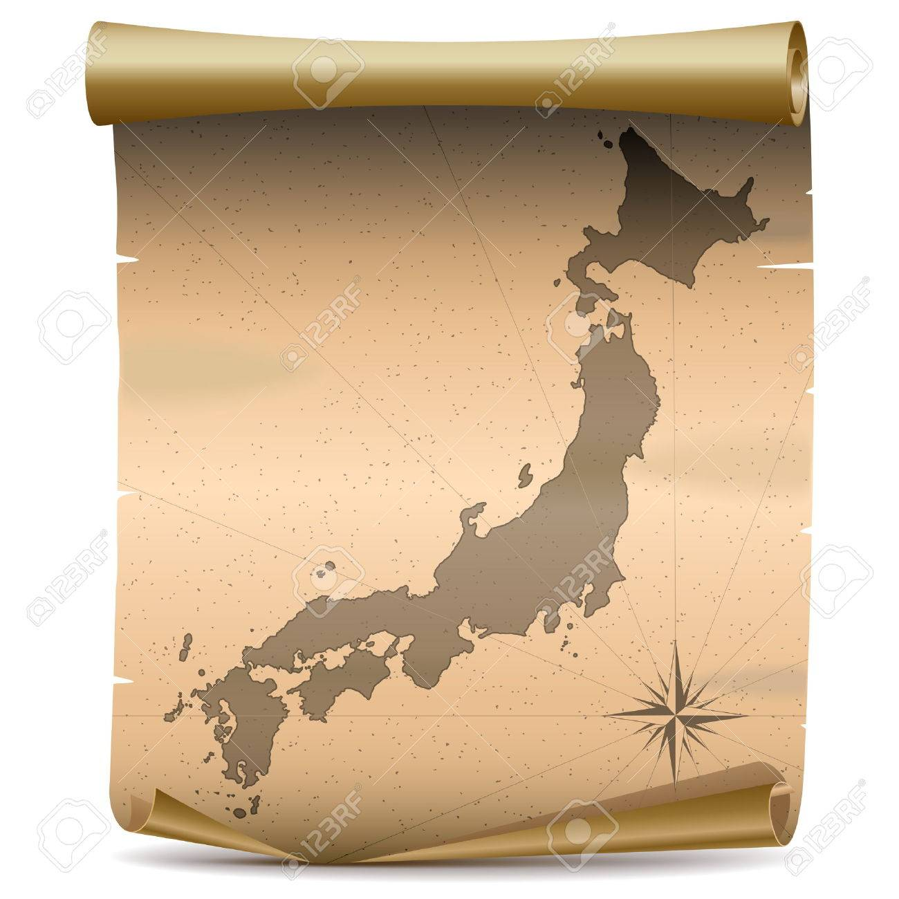 Vector Japan Vintage Map isolated on white background - 36250768