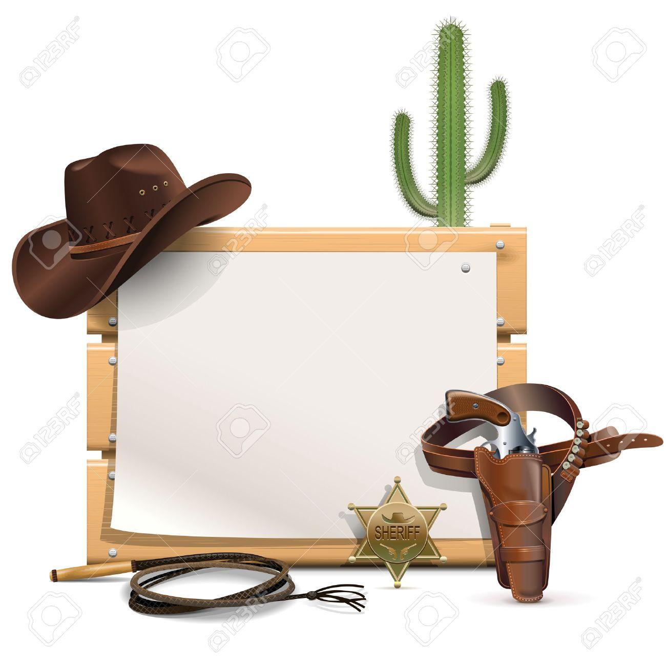 Vector Cowboy-Rahmen Auf Weißem Hintergrund Lizenzfrei Nutzbare ...