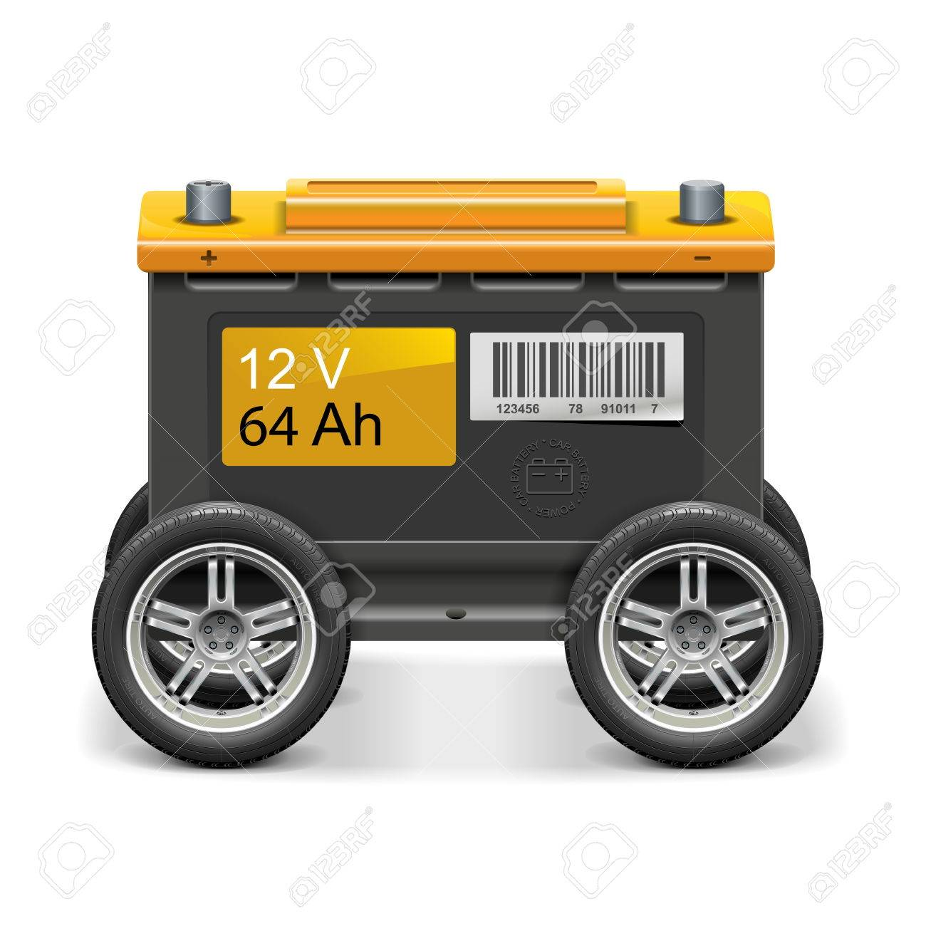 Vector Car Battery on Wheels isolated on white background - 37114789