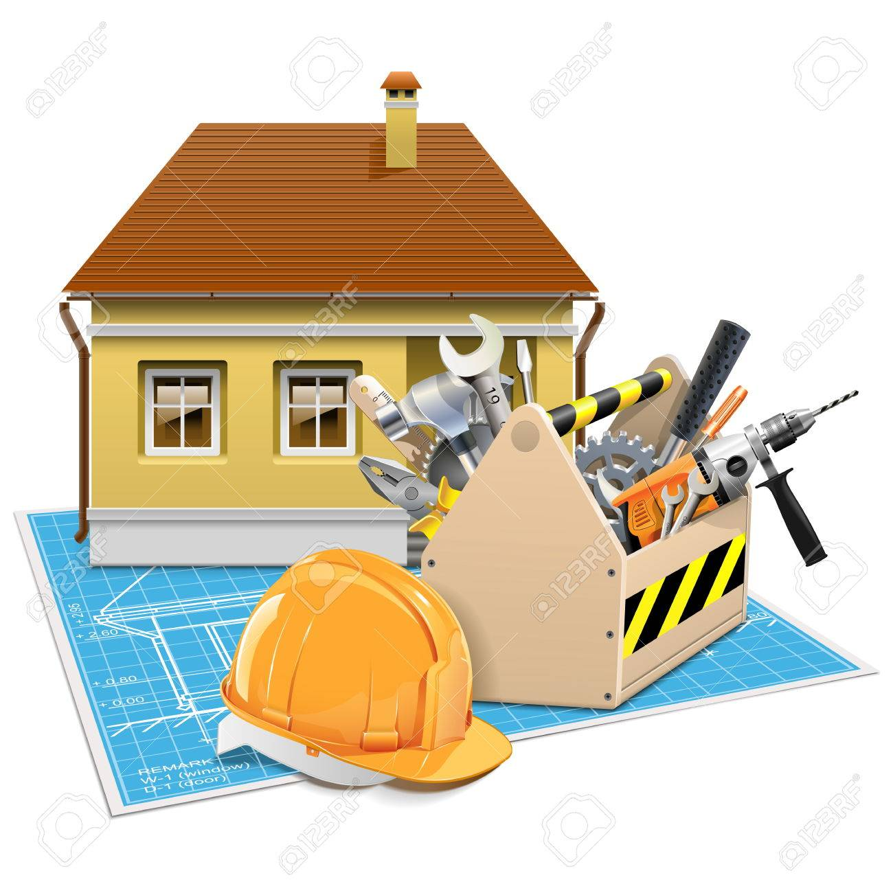 Vector House Repair Project isolated on white background - 37489965