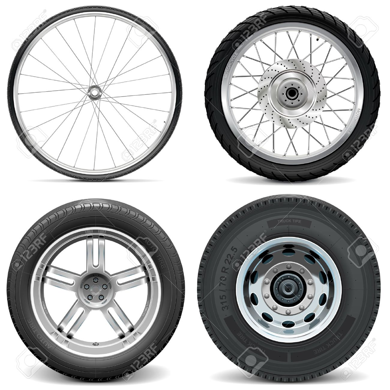 Vector Tires for Bicycle Motorcycle Car and Truck isolated on white background - 38012640