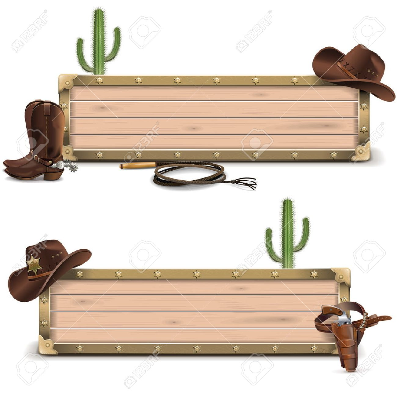 Vector Cowboy Signboards isolated on white background - 40439409