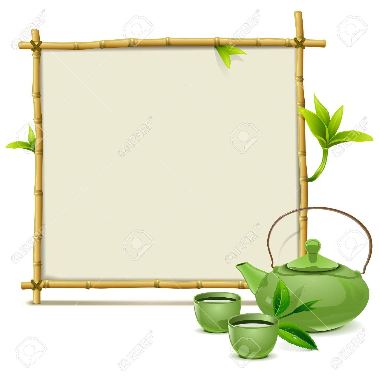 Vector Bamboo Frame with Green Tea isolated on white background - 41621533