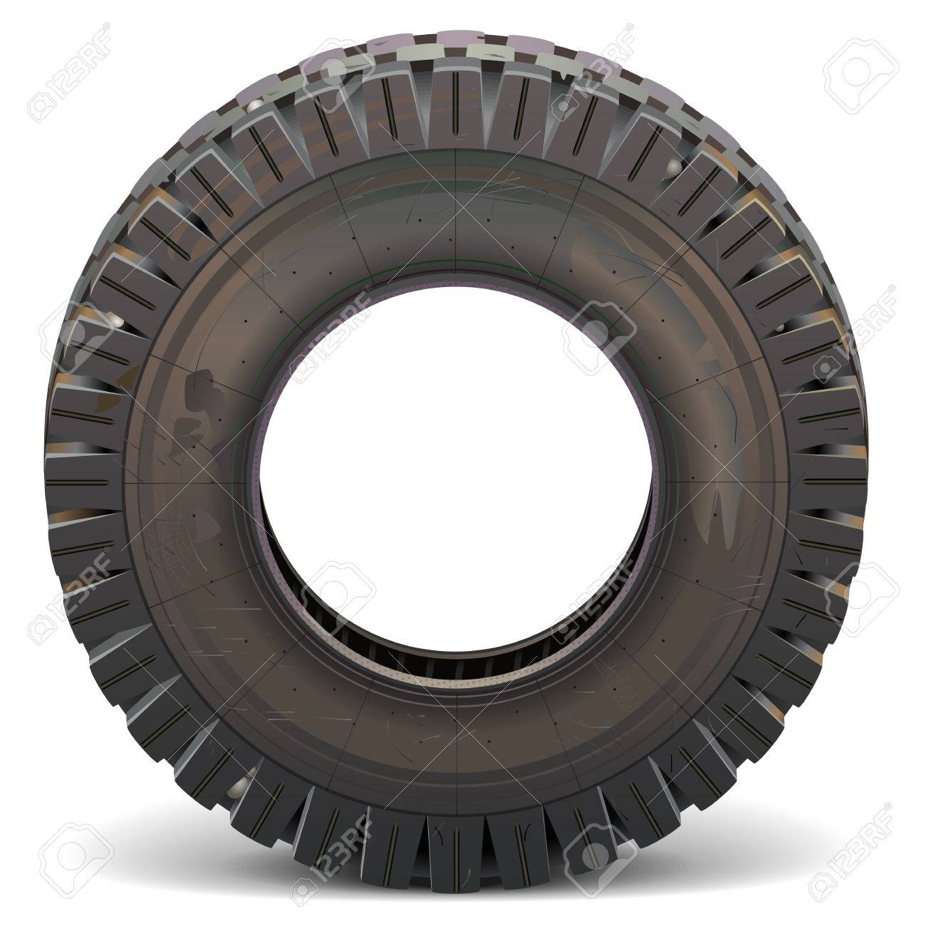 Vector Old Truck Tire isolated on white background - 43178929