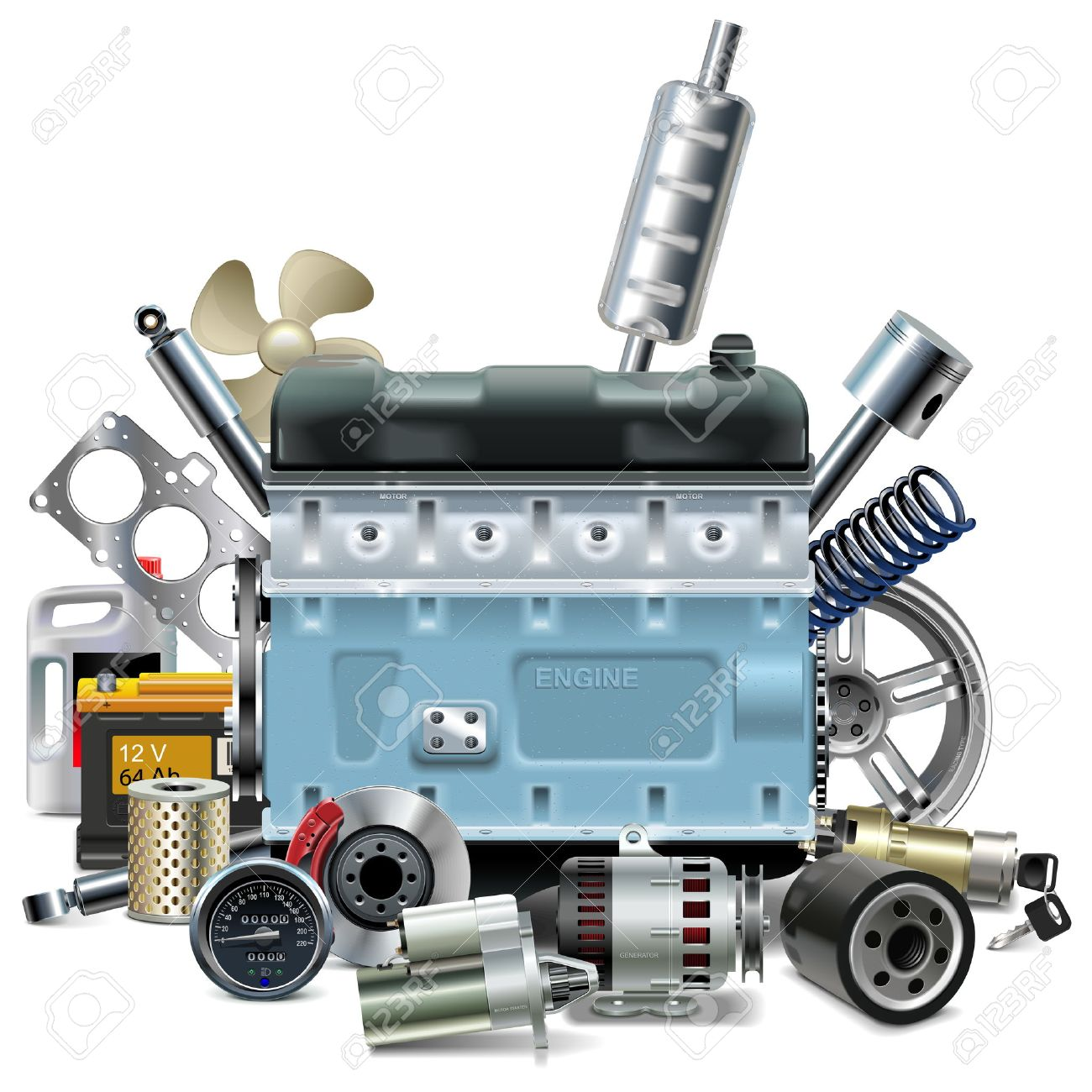 Vector Engine with Car Spares isolated on white background - 46189655