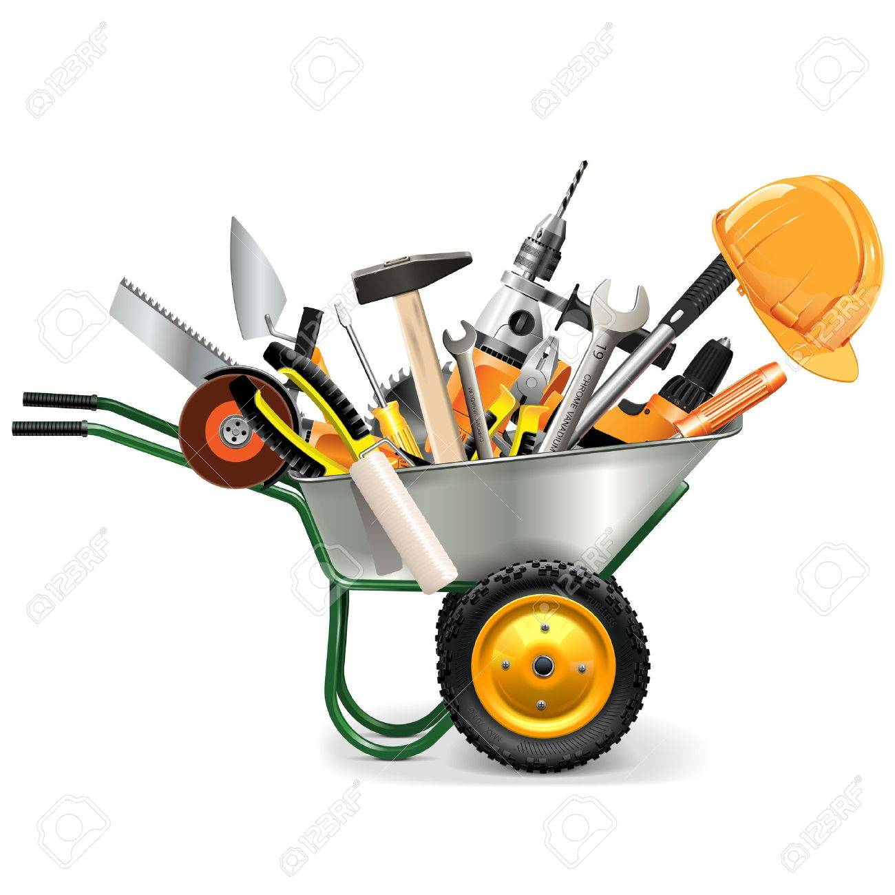 Vector Wheelbarrow with Tools isolated on white background - 44241715