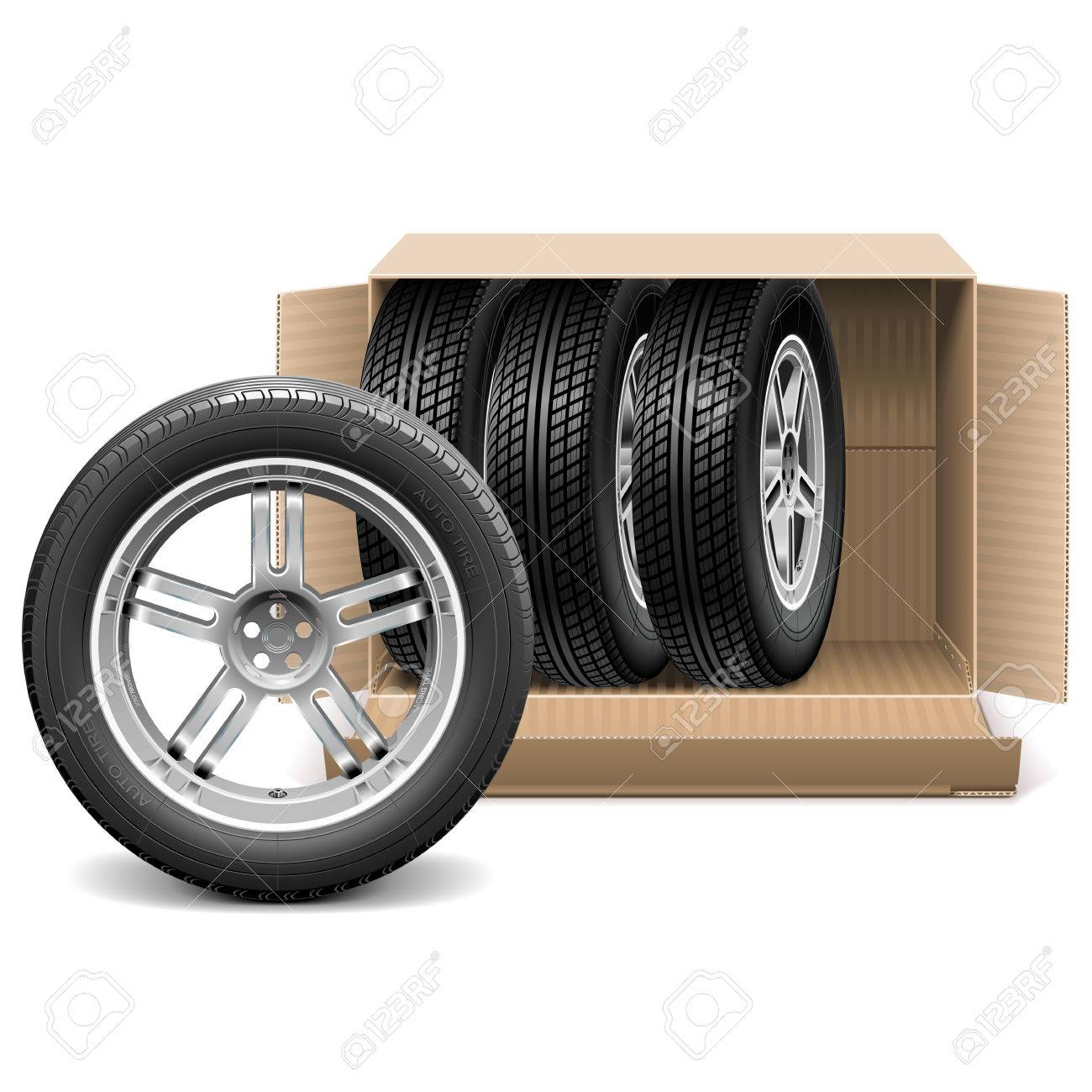 Vector Car Wheels In Carton Box Isolated On White Background