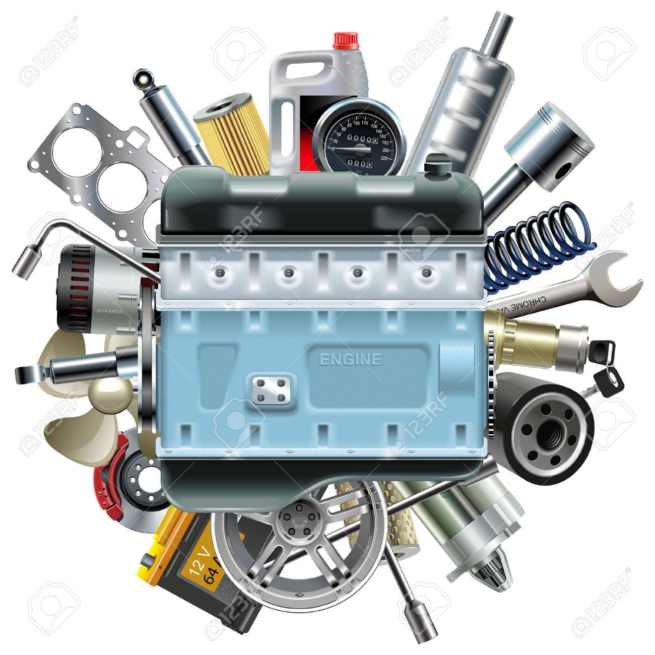 Vector Motor Engine with Car Spares isolated on white background - 47340851