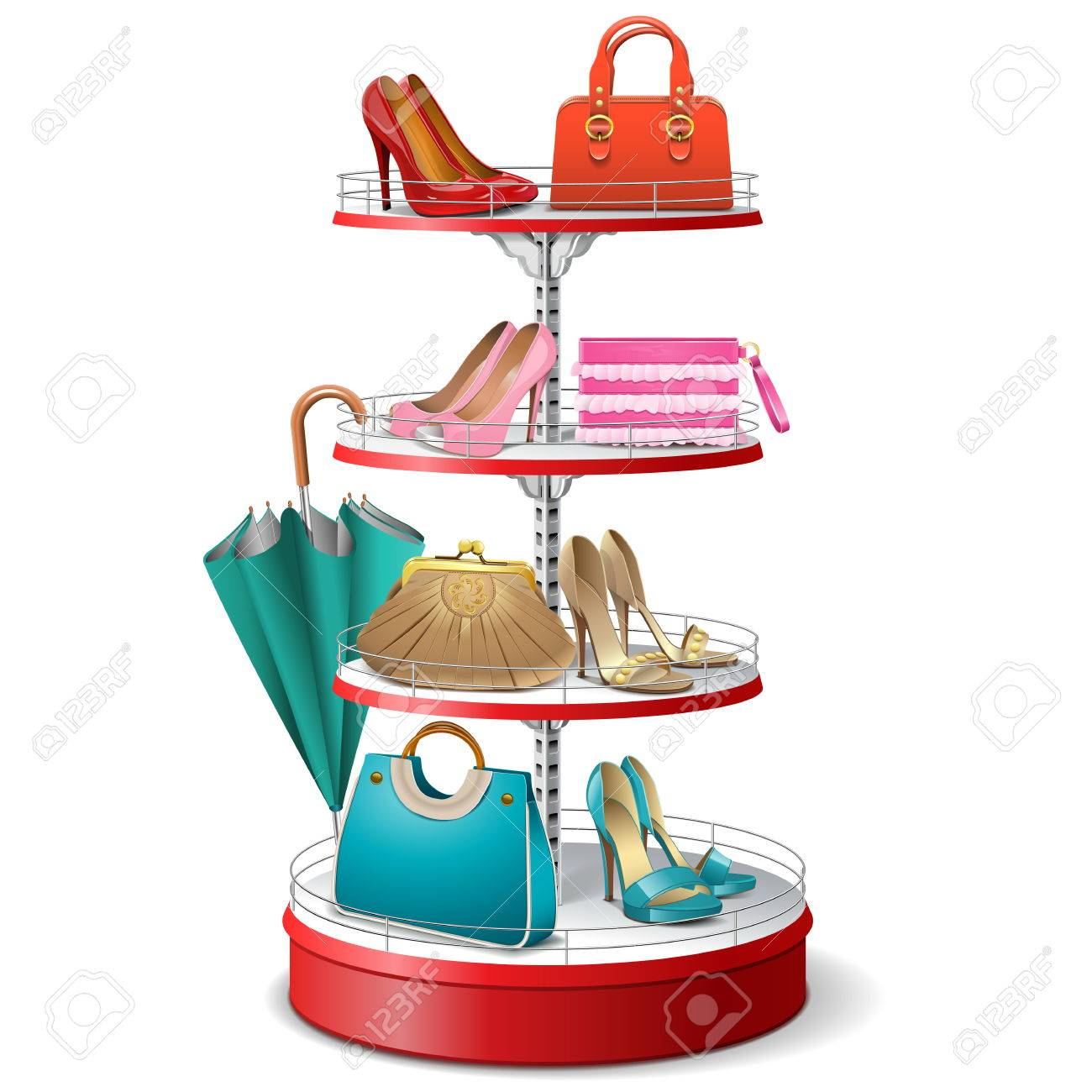 Vector Round Shelf with Female Accessories isolated on white background - 47341004