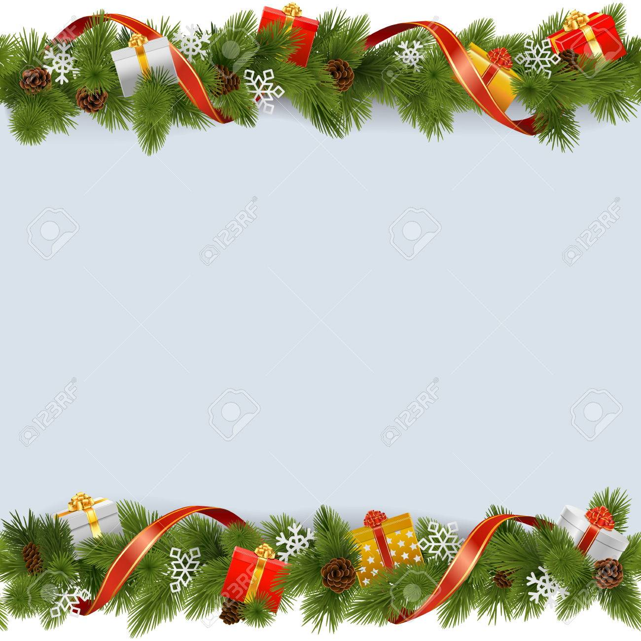 Vector Christmas Border with Gifts isolated on white background - 48298373