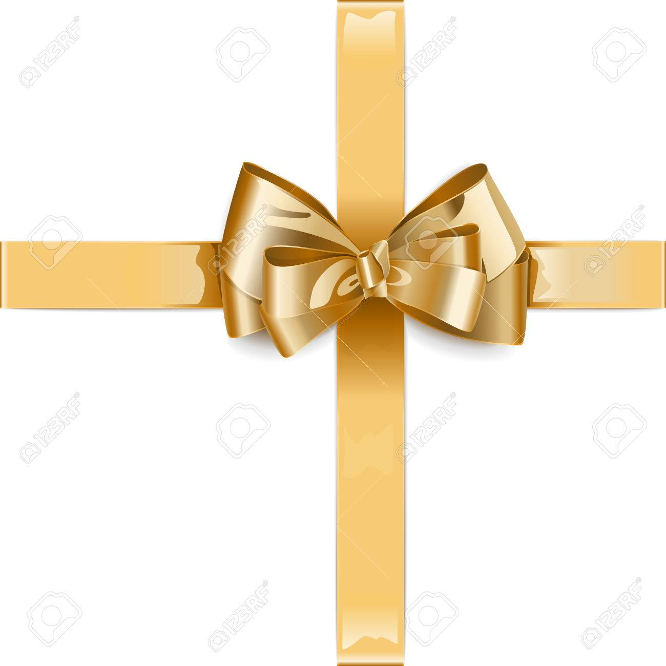 Vector Golden Ribbon with Bow isolated on white background - 48298384