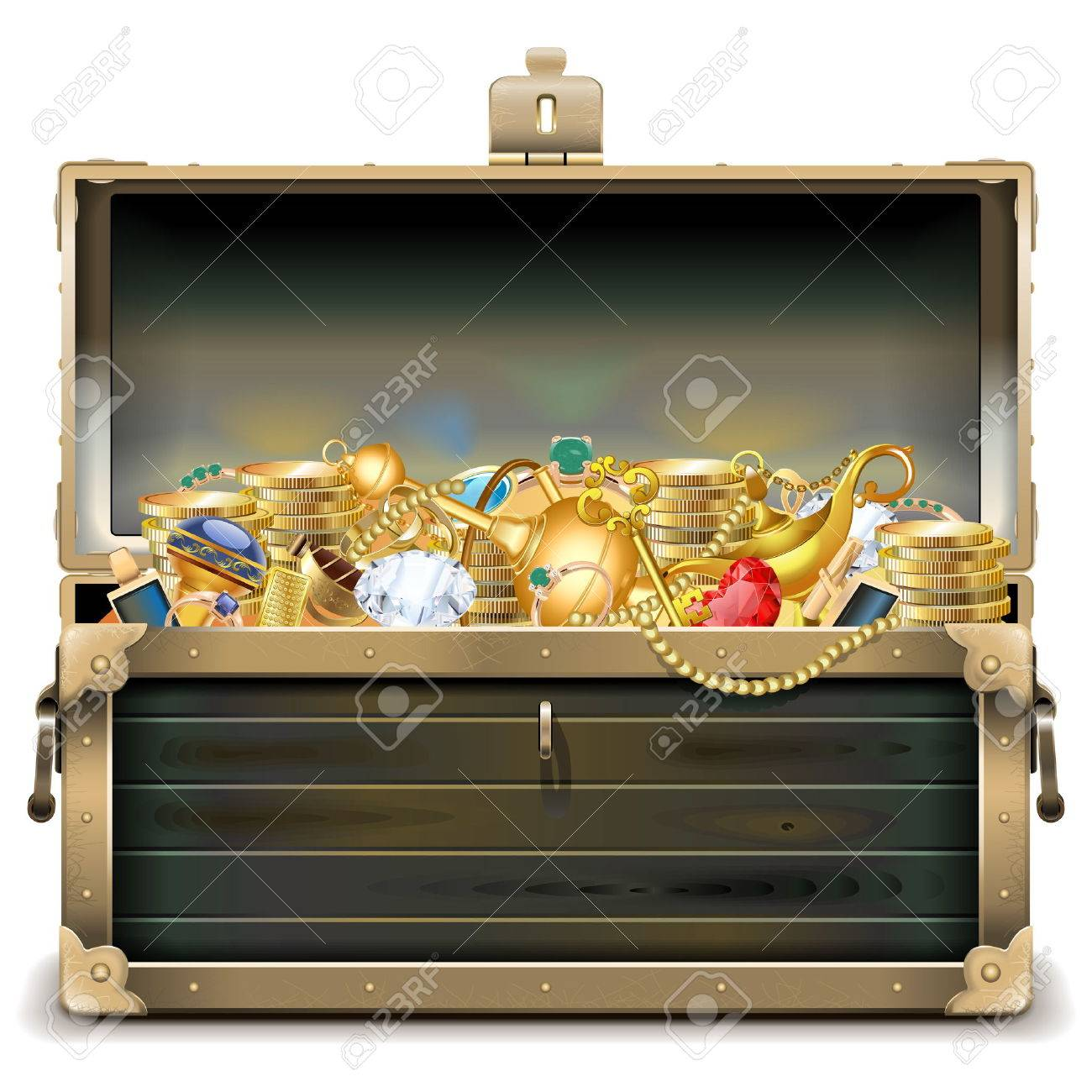 Vector Old Wooden Chest with Gold isolated on white background - 48370661