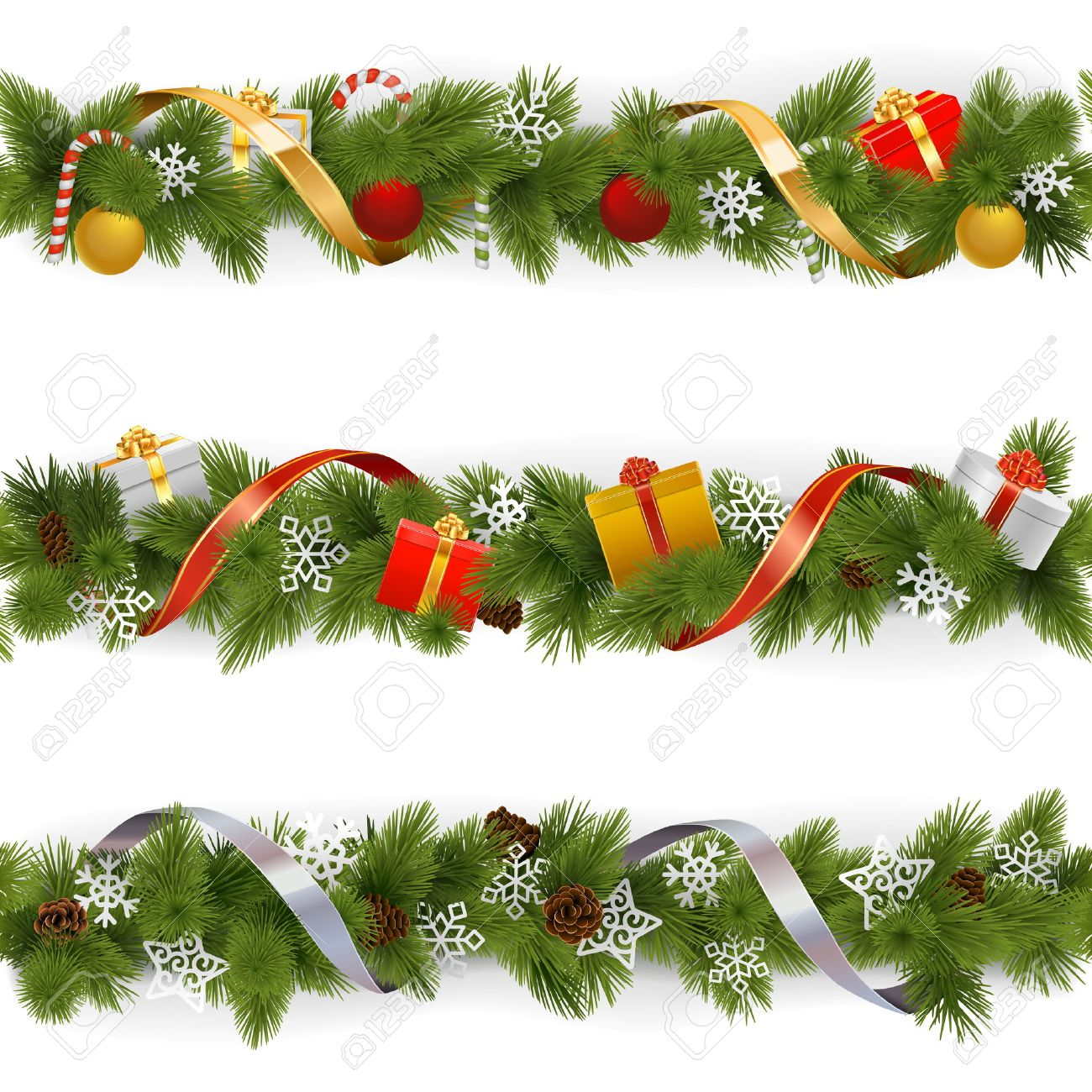 Vector Christmas Border Set 3 isolated on white background - 49604866