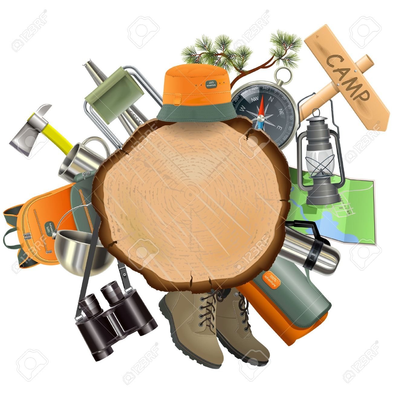Wooden Board with Camping Accessories isolated on white background - 51504725
