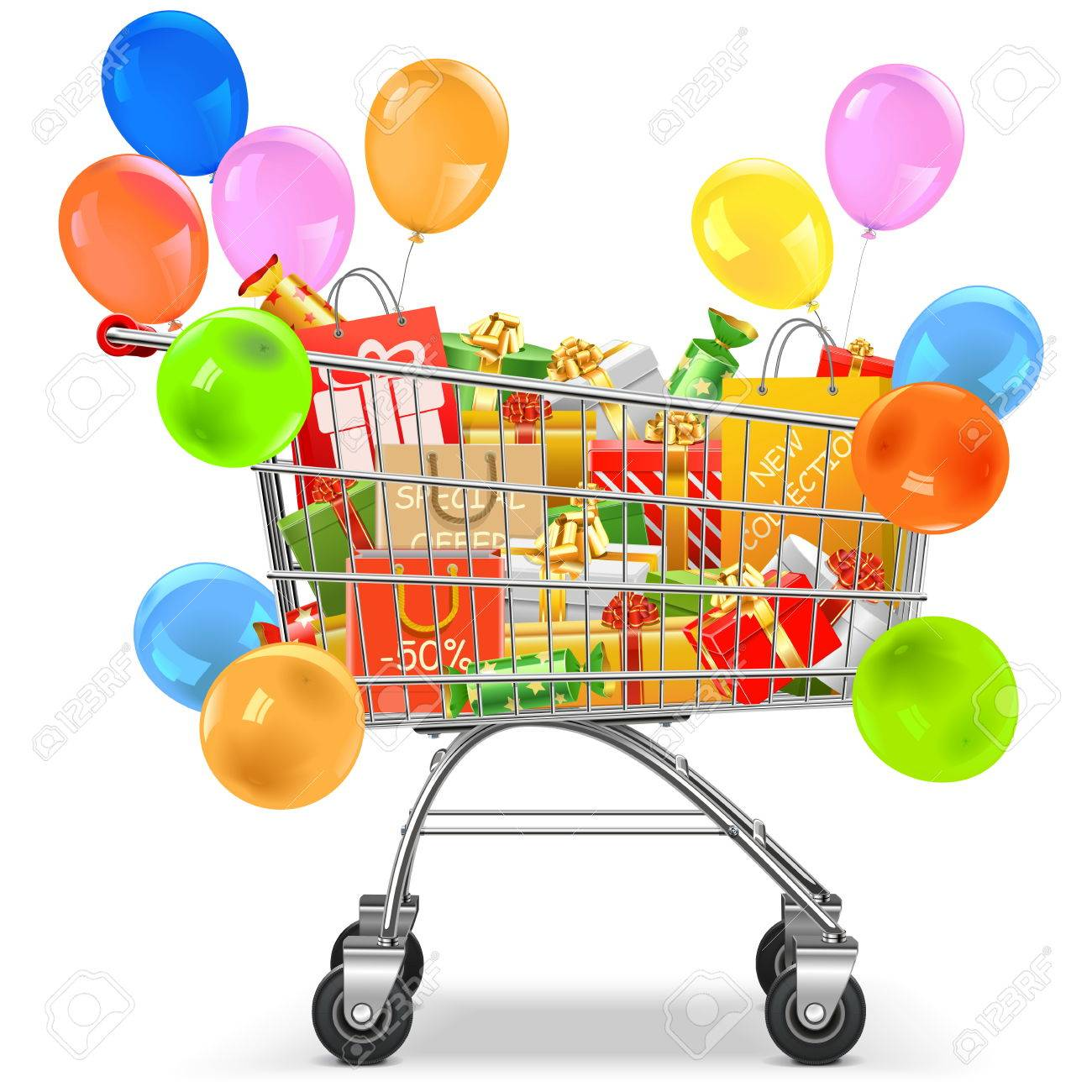 Vector Supermarket Trolley with Gifts isolated on white background - 53127587