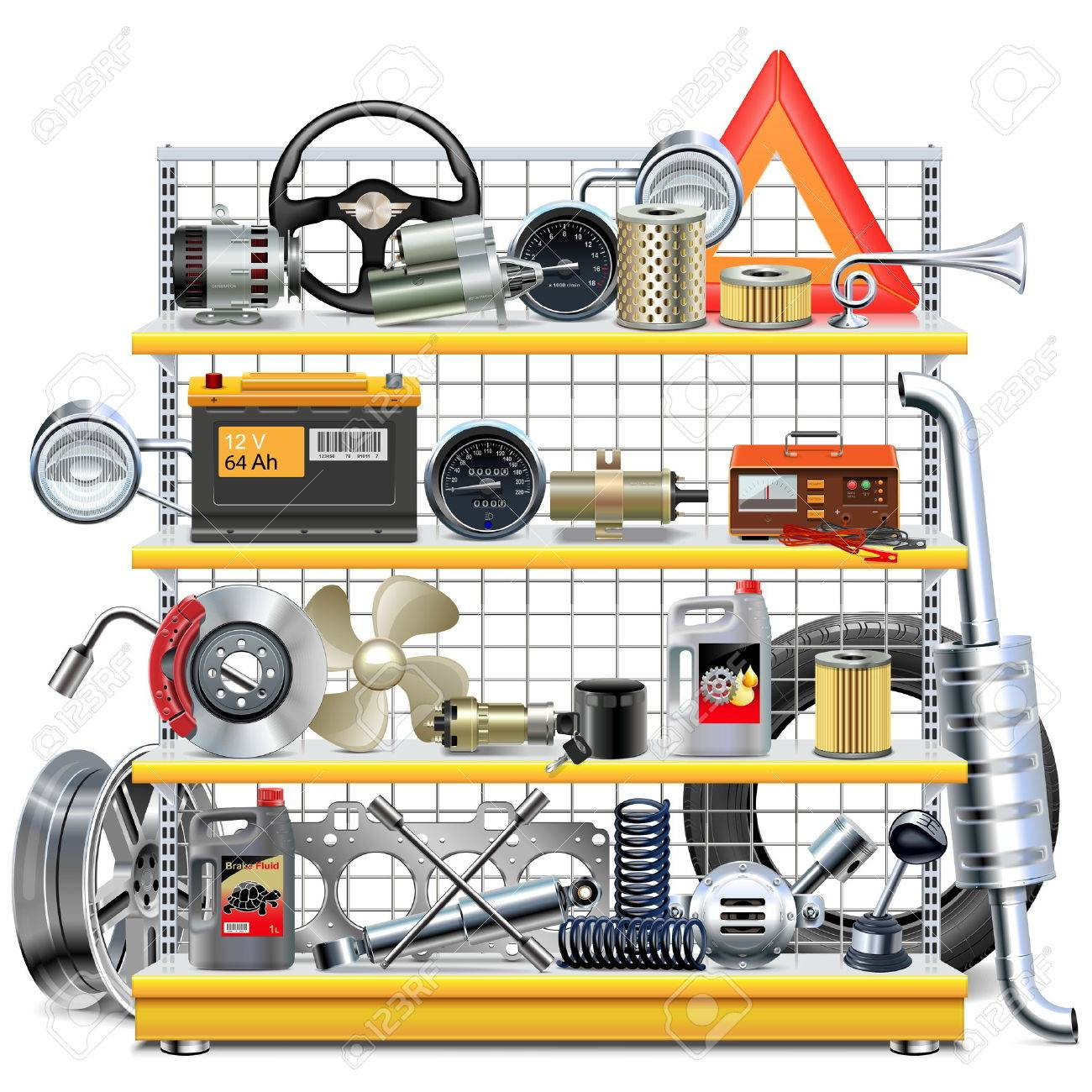Supermarket Shelves with Car Spares isolated on white background - 54358664