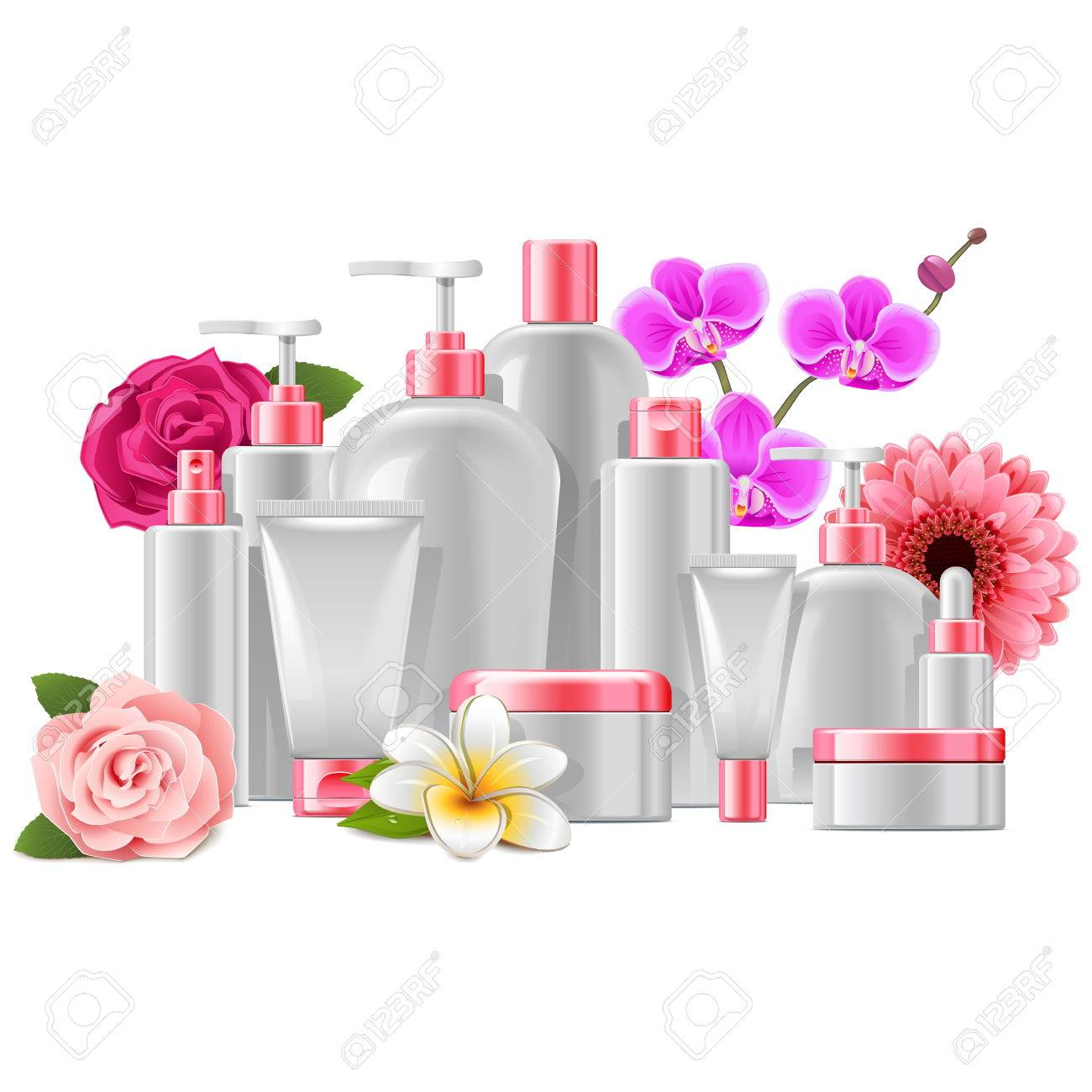 Vector Cosmetic Packaging with Flowers isolated on white background - 59797145