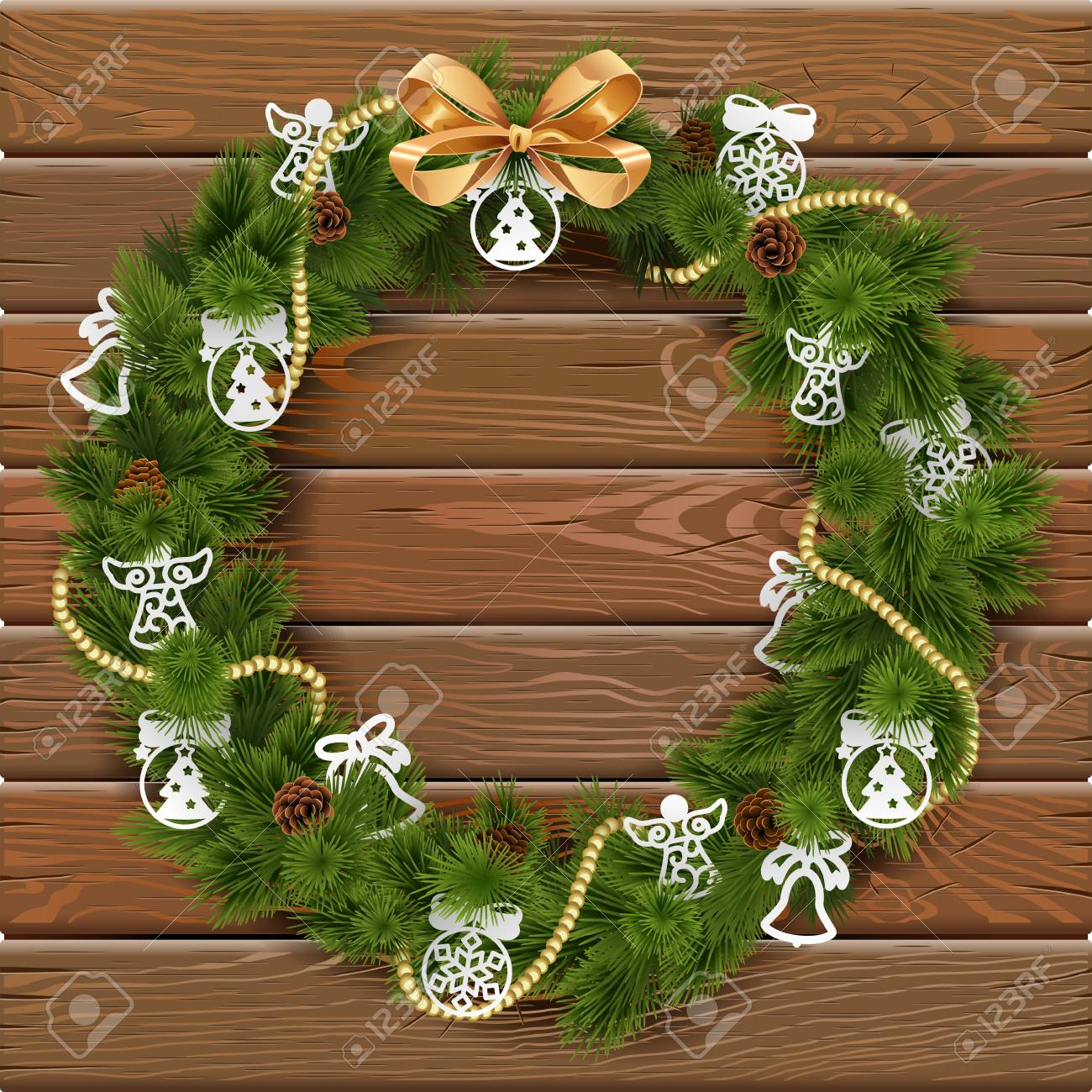 Paper Christmas Wreath Designs.Christmas Wreath On Wooden Board With Paper Decorations And Golden