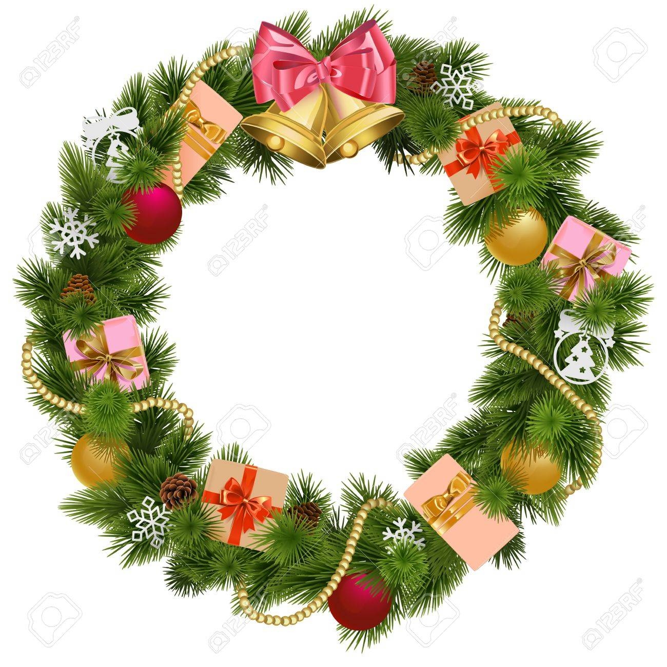 Christmas Wreath With Christmas Bell Isolated On White Background ...