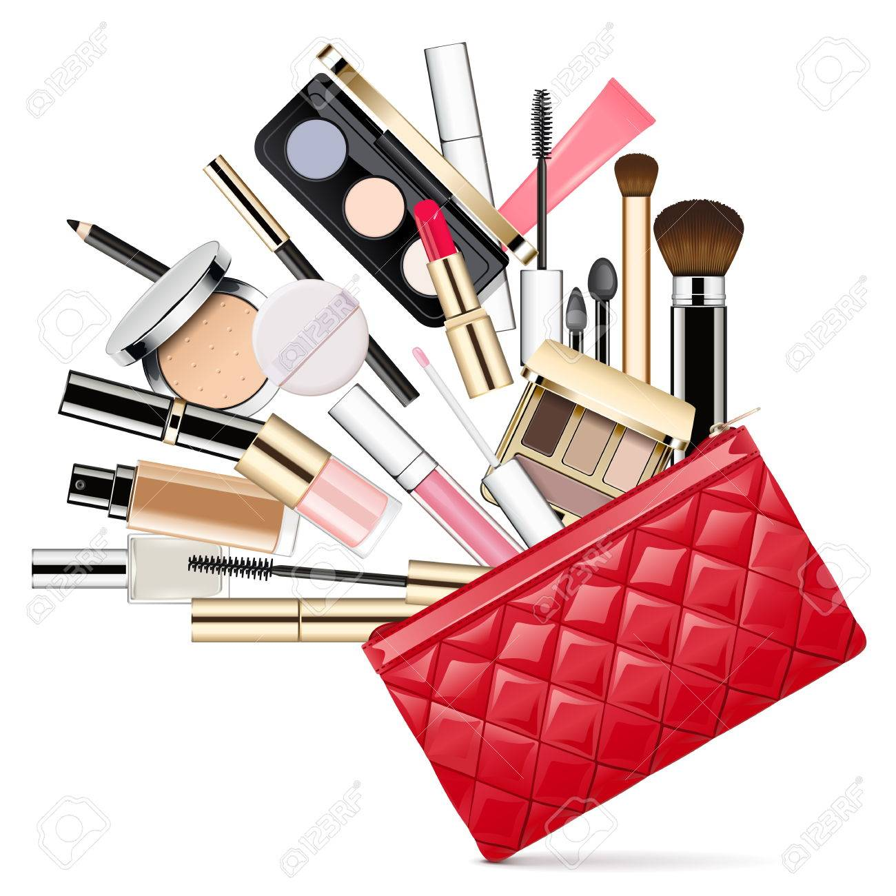 vector makeup bag isolated on white backdrop royalty free cliparts rh 123rf com