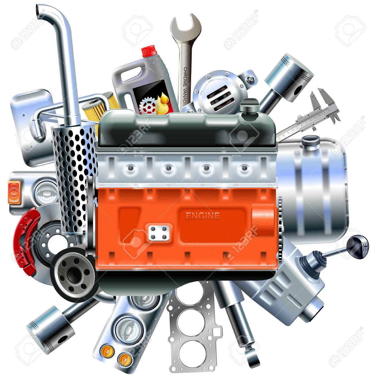 Vector Engine with Truck Spares isolated on white background - 82525554