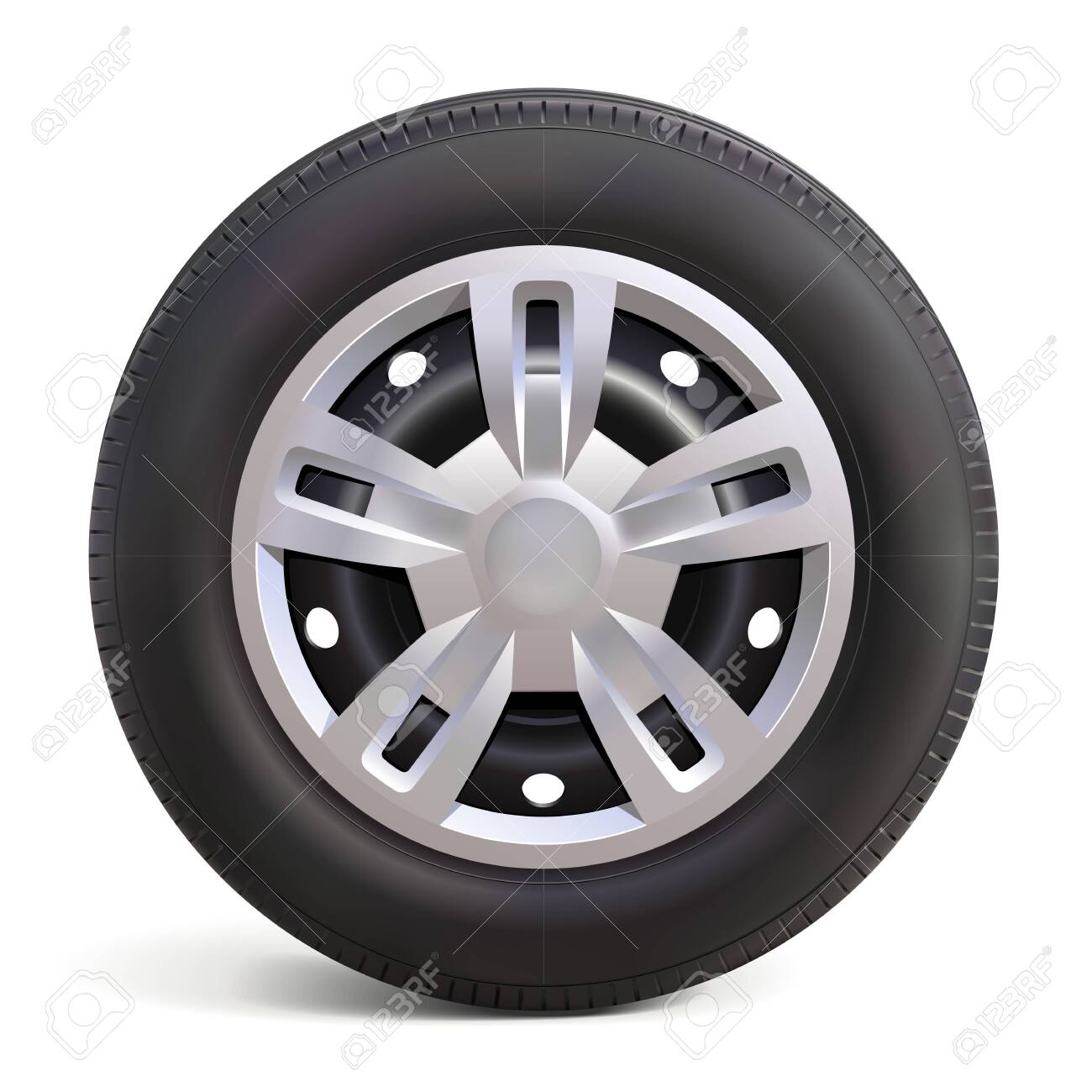 Vector Car Wheel with Disk isolated on white background - 141893655
