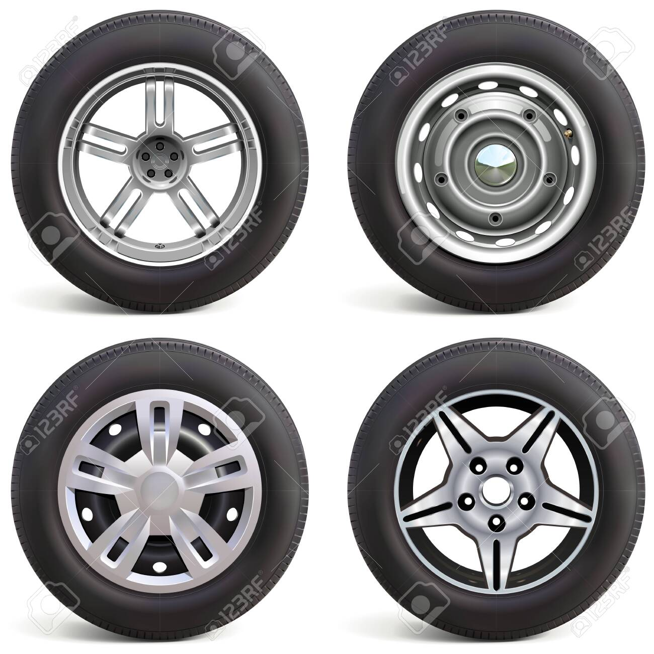 Vector Car Wheels with Rims isolated on white background - 144536817