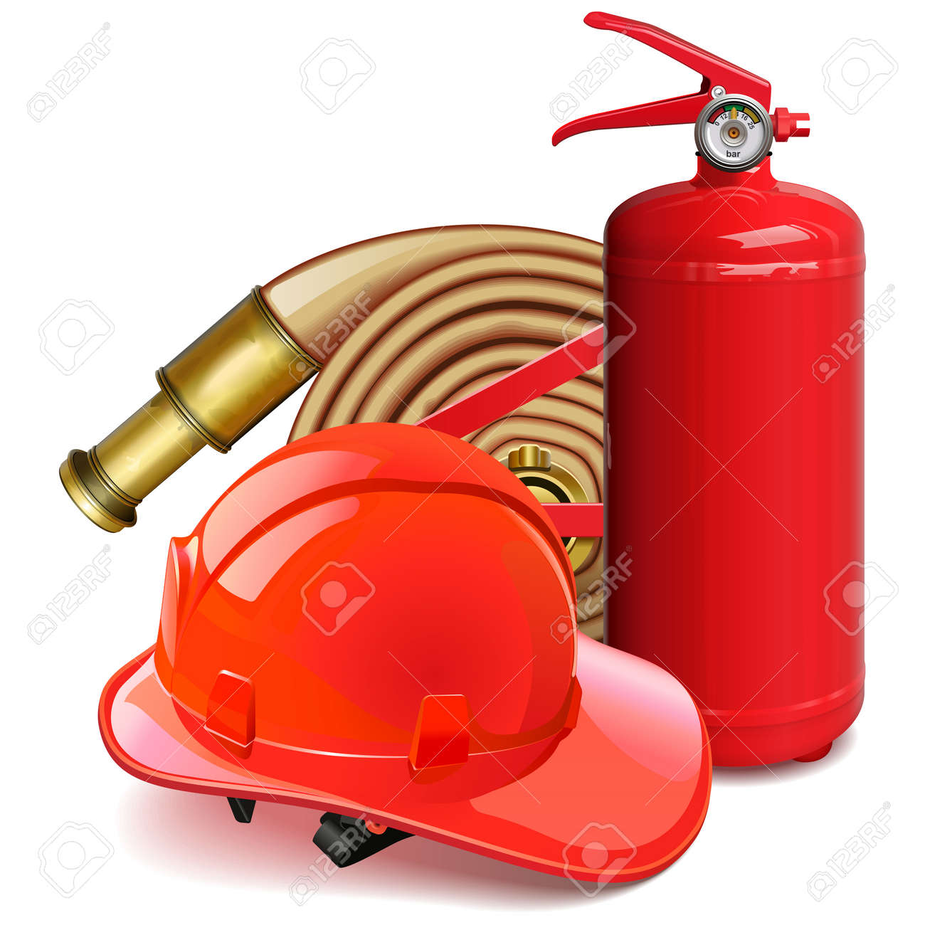 Vector Firefighter Concept with Red Helmet isolated on white background - 155711132