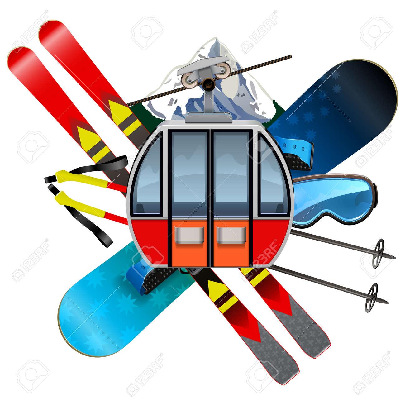 Vector Ski Resort Concept isolated on white background - 155857682