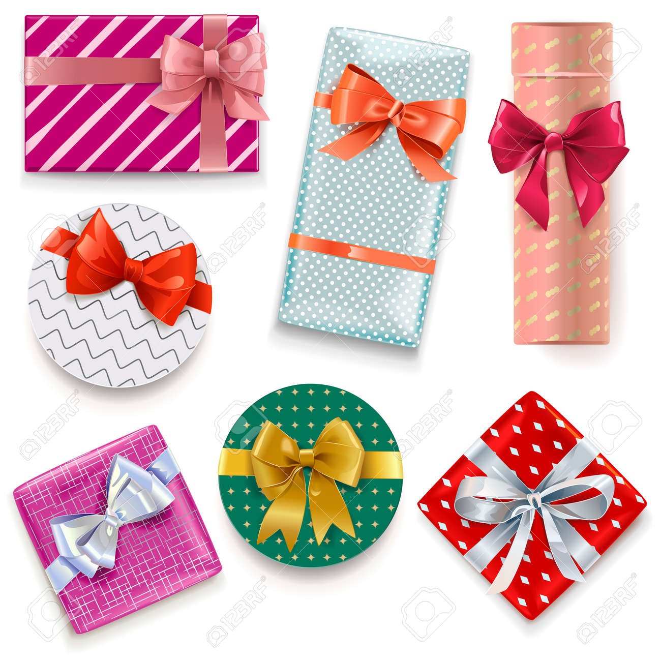 Vector Patterned Gift Boxes isolated on white background - 155711339