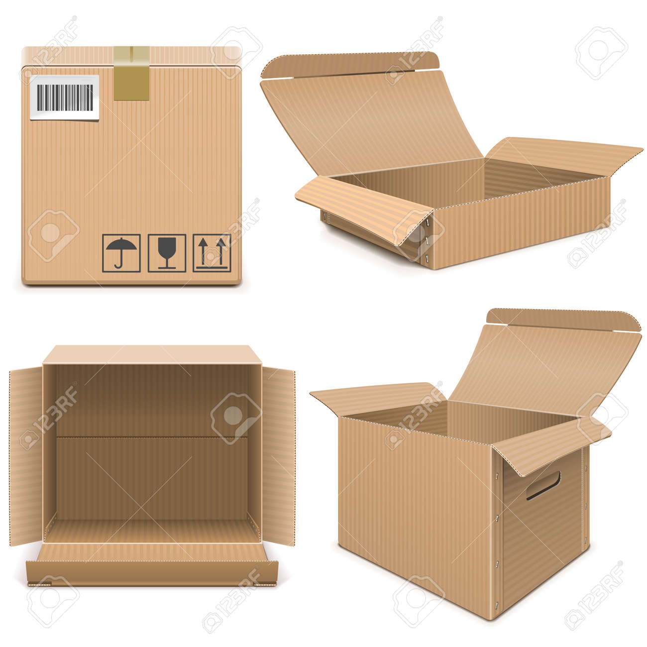 Vector Empty Carton Boxes isolated on white background - 157101681