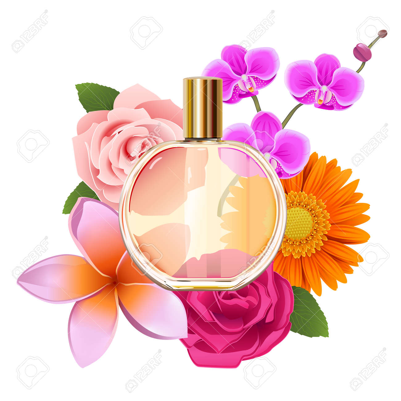 Vector Perfume with Flowers isolated on white background - 157102156