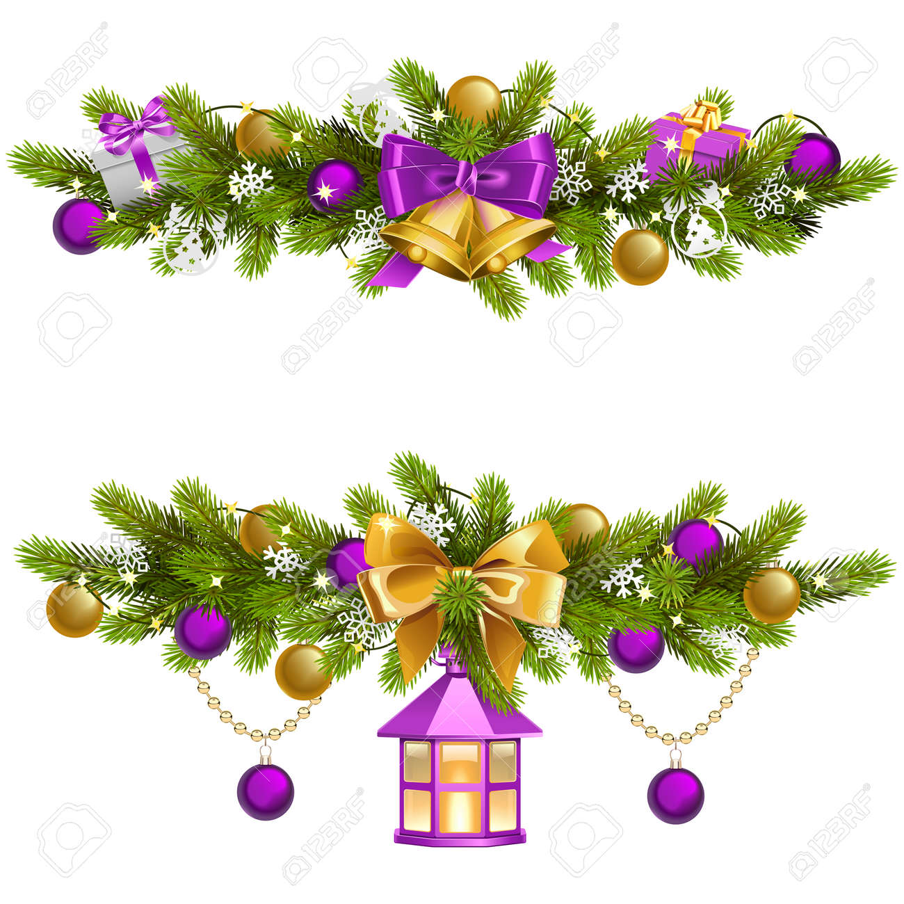 Vector Fir Decoration with Purple Decorations isolated on white background - 157101989