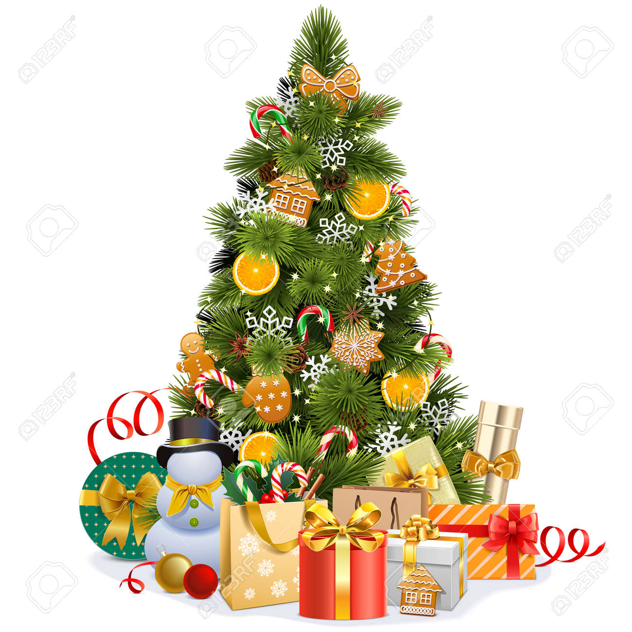 Vector Christmas Pine Tree with Sweet Decorations isolated on white background - 157102067