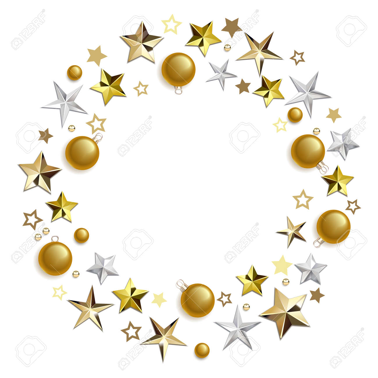 Vector Round Concept with Golden Decorations isolated on white background - 157427335