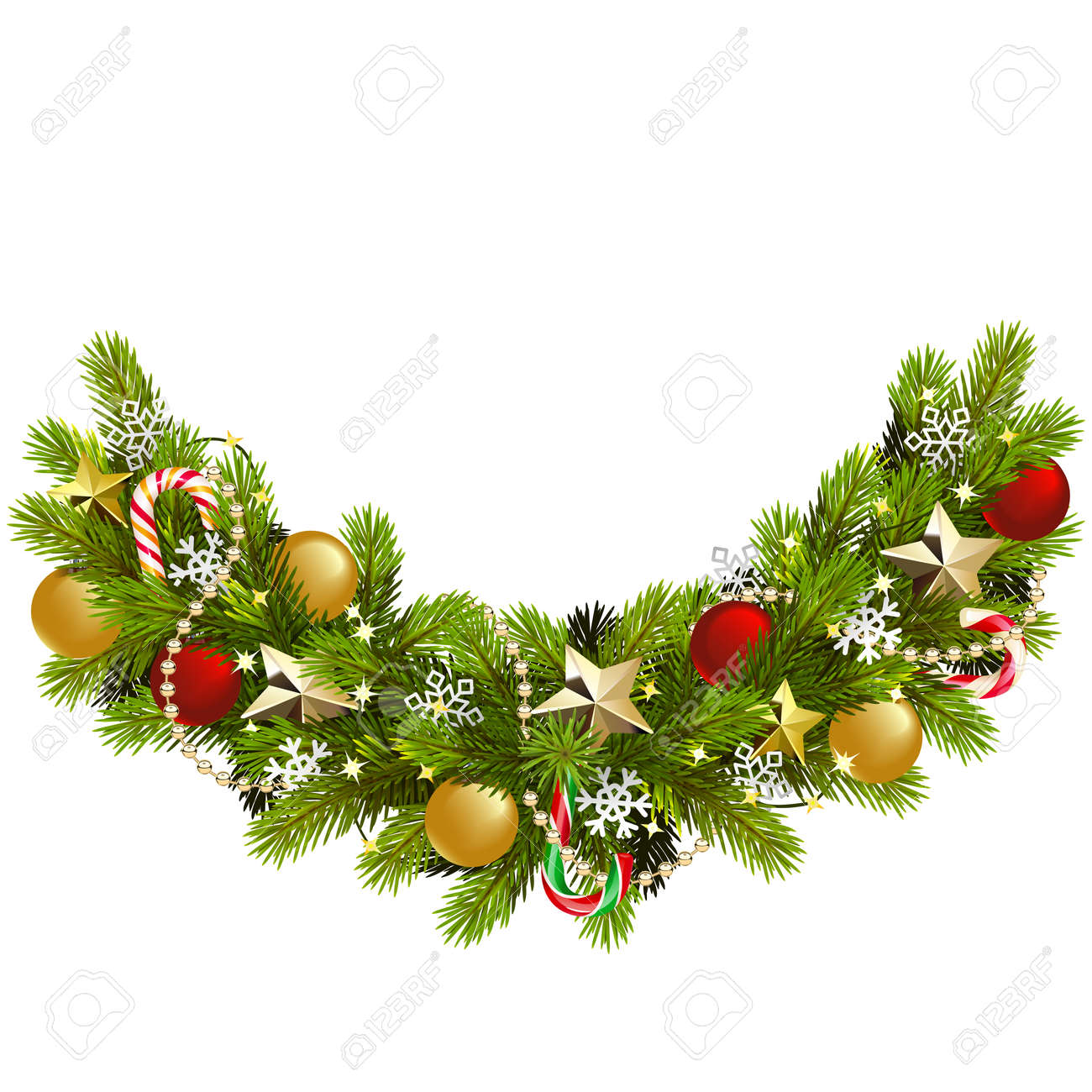 Vector Fir Christmas Decoration isolated on white background - 157102217