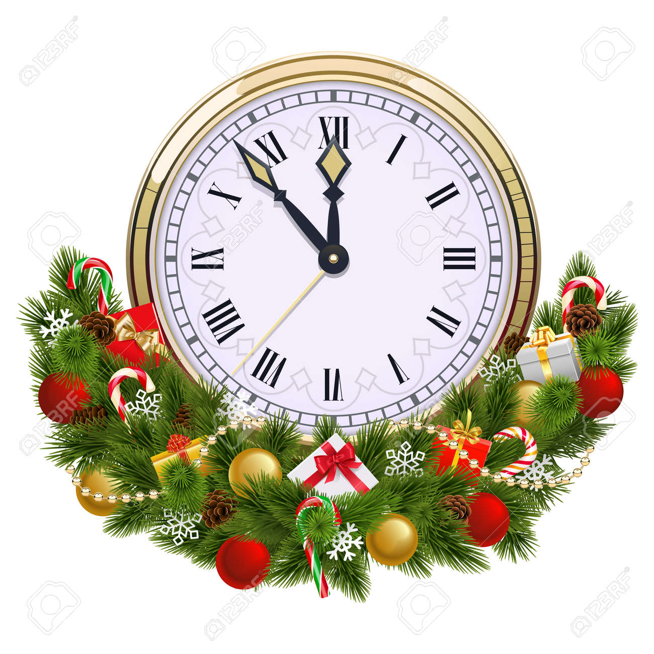 Vector Christmas Decoration with Clock isolated on white background - 163516212