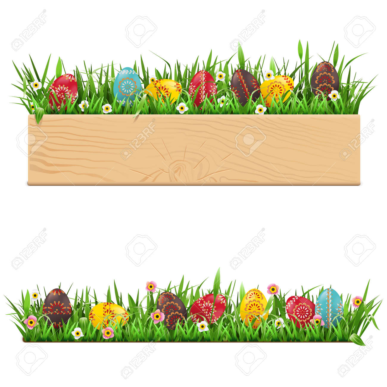 Vector Easter Border with Painted Eggs isolated on white background - 163516428